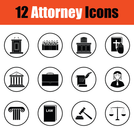 barrister: Set of attorney icons.  Thin circle design. Vector illustration.