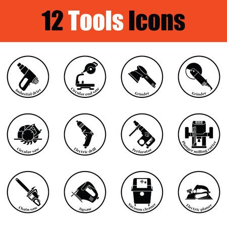 steel mill: Tools icon set.  Thin circle design. Vector illustration. Illustration