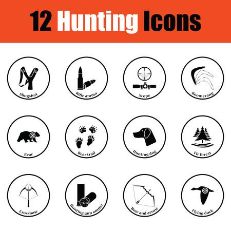 slingshot: Hunting icon set.  Thin circle design. Vector illustration. Illustration