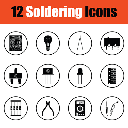 resistor: Set of soldering  icons.  Thin circle design. Vector illustration.