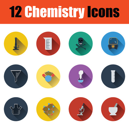 hexa: Flat design chemistry icon set in ui colors. Vector illustration.