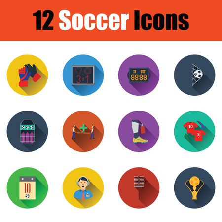 Set of twelve soccer icon in ui colors. Vector illustration.