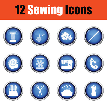 clew: Set of twelve sewing icons.  Glossy button design. Vector illustration. Illustration