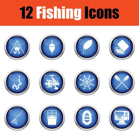 tackle box: Fishing icon set.  Glossy button design. Vector illustration.