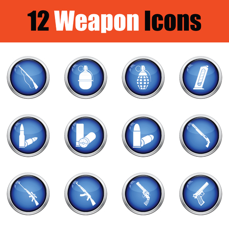 winchester: Set of twelve weapon icons.  Glossy button design. Vector illustration.
