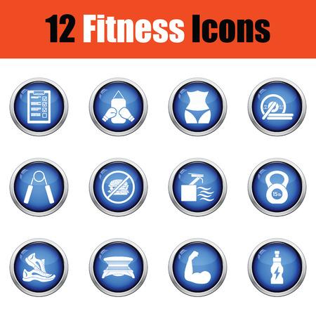 solarium: Fitness icon set.  Glossy button design. Vector illustration.