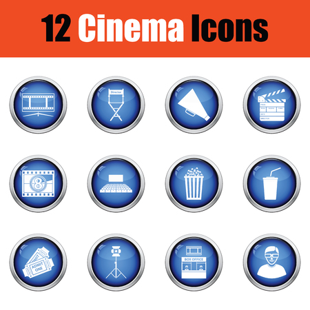office icon: Set of cinema icons.  Glossy button design. Vector illustration.