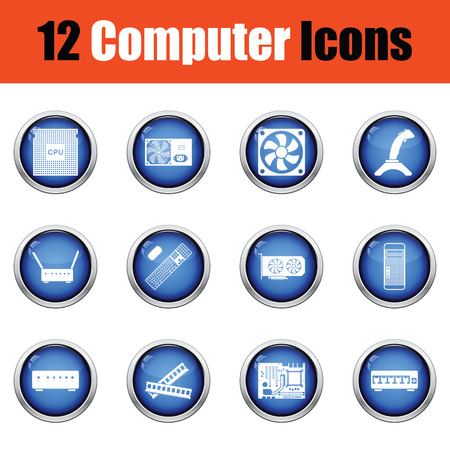 computer button: Set of computer icons.  Glossy button design. Vector illustration. Illustration