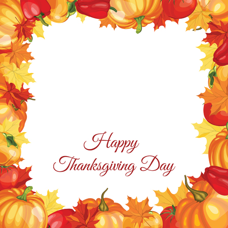 pumpkin tomato: Thanksgiving Day Greeting Card With Text Space. Design Consist From Pumpkin, Pepper, Tomato, Maple Leaves Over White Background.  Very Cute and Warm Colors. Vector illustration.
