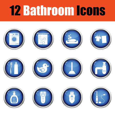 epilator: Bathroom icon set.  Glossy button design. Vector illustration. Illustration