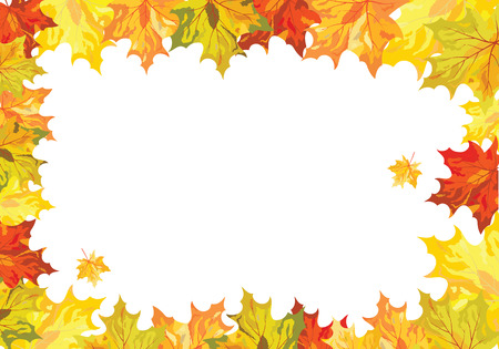 leaves frame: Autumn  Frame With Falling  Maple Leaves on White Background. Elegant Design with Text Space and Ideal Balanced Colors. Vector Illustration. Illustration