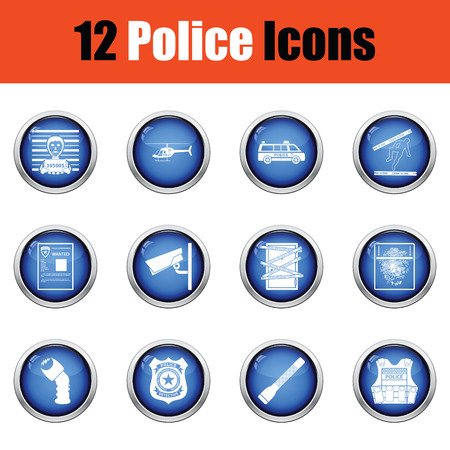 flak: Set of police icons.  Glossy button design. Vector illustration.