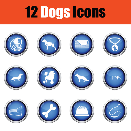 the trappings: Set of dog breeding icons.  Glossy button design. Vector illustration.