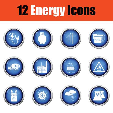 power transformer: Energy icon set.  Glossy button design. Vector illustration.