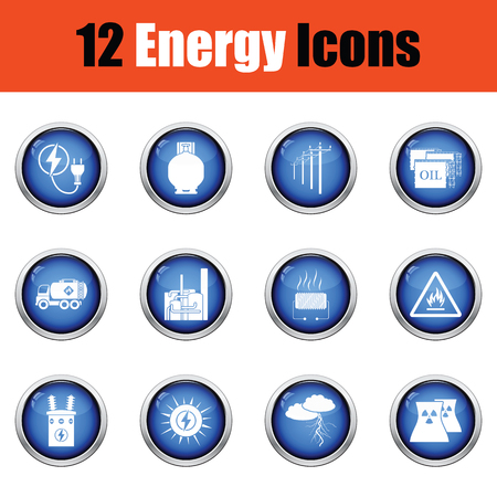 Energy icon set. Glossy knop design. Vector illustratie.