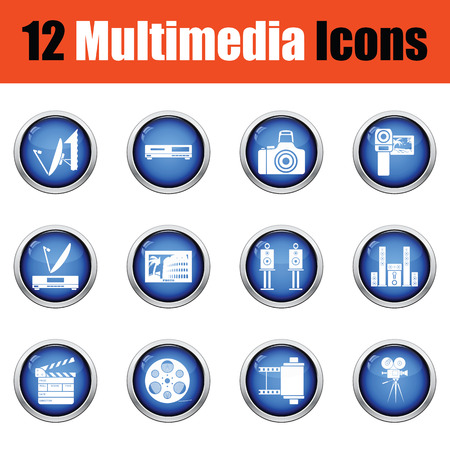 multimedia: Set of multimedia icons.  Glossy button design. Vector illustration. Illustration