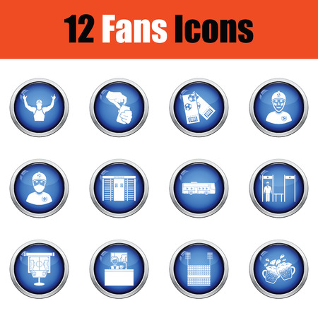 grandstand: Set of soccer fans icons. Glossy button design. Vector illustration.