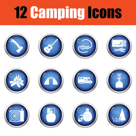 glossy button: Camping icon set.  Glossy button design. Vector illustration.