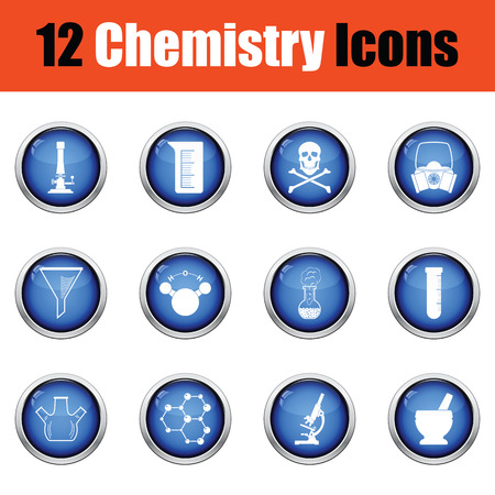 hexa: Chemistry icon set.  Glossy button design. Vector illustration.