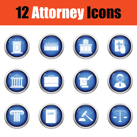 black wigs: Set of attorney  icons.   Glossy button design. Vector illustration. Illustration