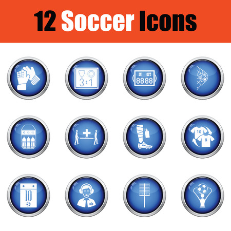 Set of soccer icons.  Glossy button design. Vector illustration.