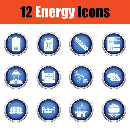 energy icon: Energy icon set.  Glossy button design. Vector illustration.