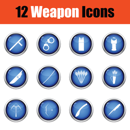 sheath: Set of twelve weapon icons.  Glossy button design. Vector illustration.