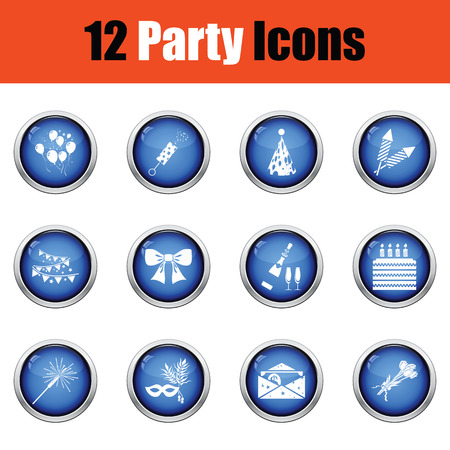 Set of celebration icons.  Glossy button design. Vector illustration.