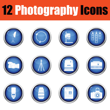 Photography icon set.  Glossy button design. Vector illustration. Çizim