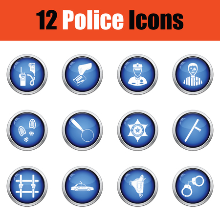 Set of police icons.  Glossy button design. Vector illustration.