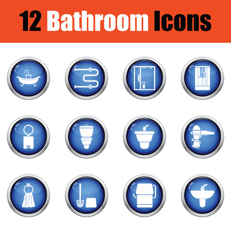 water icon: Bathroom icon set.  Glossy button design. Vector illustration. Illustration