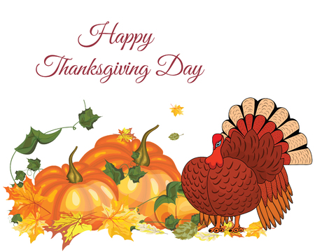 Thanksgiving Day Greeting Card With Text Space. Design Consist From Pumpkin, Turkey, Tomato, Maple Leaves Over White Background.  Very Cute and Warm Colors. Vector illustration. Illustration