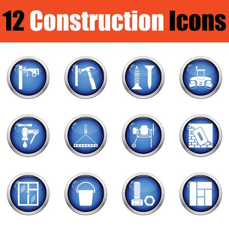 Construction icon set. Glossy button design. Vector illustration.