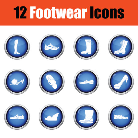 hessian boots: Set of footwear icons.  Glossy button design. Vector illustration.