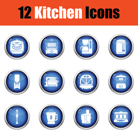 double boiler: Kitchen icon set.  Glossy button design. Vector illustration.