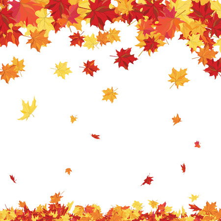 fall leaf: Autumn copy-space frame with maple leaves Illustration