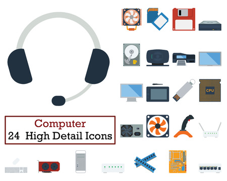 lcd monitor printer: Set of 24 Computer Icons. Flat color design. Vector illustration.