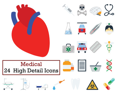 emergency cart: Set of 24 Medical icons. Flat color design. Vector illustration. Illustration