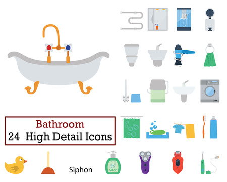 epilator: Set of 24 Bathroom Icons. Flat color design. Vector illustration.