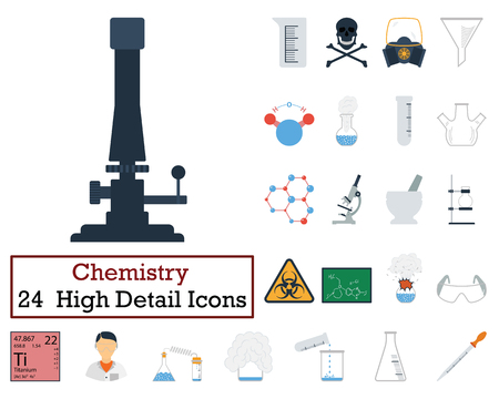 hexa: Set of 24 Chemistry Icons. Flat color design. Vector illustration.