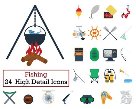 bait box: Set of 24 Fishing Icons. Flat color design. Vector illustration. Illustration