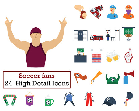 Set of 24 Football Fans Icons. Flat color design. Vector illustration.