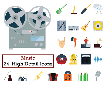 Set of 24 Music Icons. Flat color design. Vector illustration.