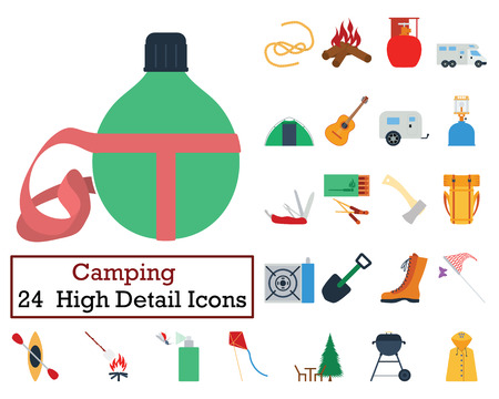Set of 24 Camping Icons. Flat color design. Vector illustration.