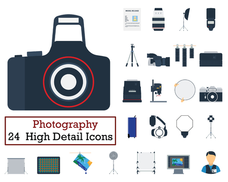 photography icons: Set of 24 Photography Icons. Flat color design. Vector illustration. Illustration