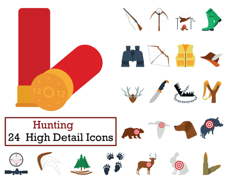 wildlife shooting: Set of 24 Hunting Icons. Flat color design. Vector illustration.