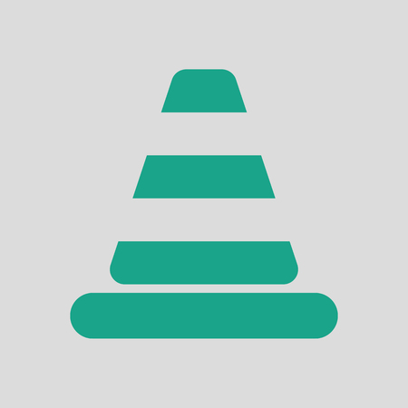 Icon of Traffic cone. Gray background with green. Vector illustration.