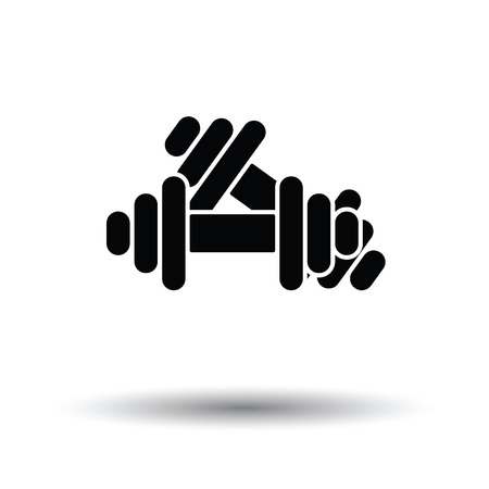 Dumbbell icon. White background with shadow design. Vector illustration. Illustration