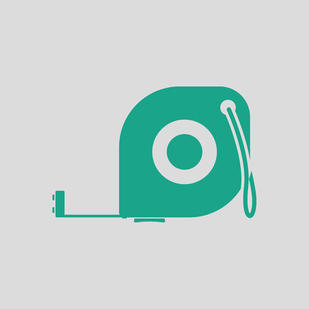 gauging: Icon of constriction tape measure. Gray background with green. Vector illustration.