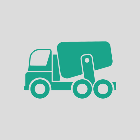 Icon of Concrete mixer truck . Gray background with green. Vector illustration. Illustration